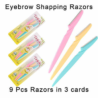 9 Pcs Tinkle Eyebrow Razor Trimmer Shaper Shaver Hair Remover 3 Card Sets Tool