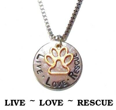 LIVE ~ LOVE ~ RESCUE Dog & Cat Silver Rose Gold Paw Print Necklace & Pendant 20""