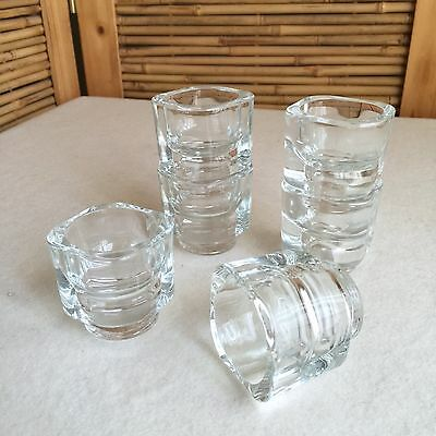 SET 6X Vintage 60s MID Century JOE COLOMBO Glass STACKING Cube EGG Cups ~ ITALY