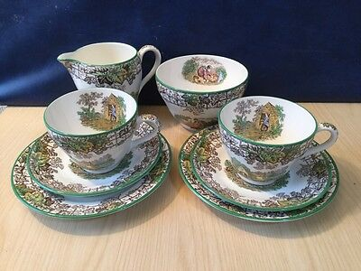 Copeland Spode Byron Part Tea Set Milk Jug, Sugar Bowl & Pair Trios Set Vintage