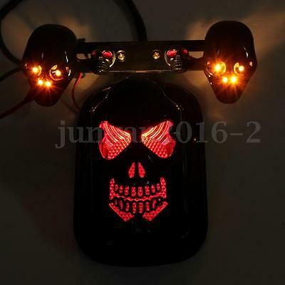 Skull Motorcycle Bike Led Tail Brake Turn Indicator Rear Light Lamp For Harley