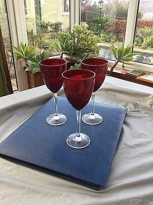 wine glasses red , set of three