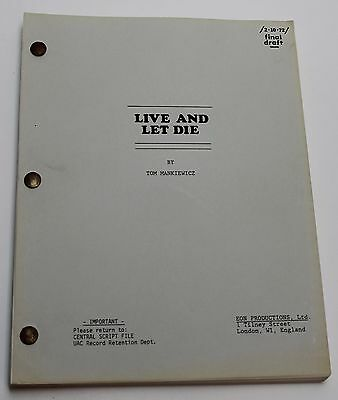 Live and Let Die * 1972 Movie Script * James Bond 007 FYC For Your Consideration