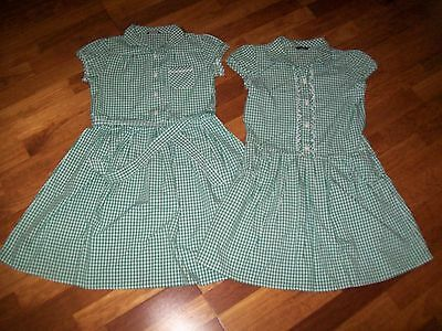 two girls gingham green school dresses age 10-11