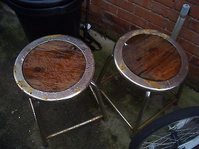 Pair Of Retro Industrail Chrome Stools  Ideal Project   Got To Go