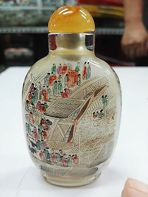 Chinese hand - painted painting Qinghe River snuff bottle glass