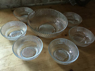 Vintage/retro Style Swirl Design Glass Dessert/trifle Bowl & Six Dishes