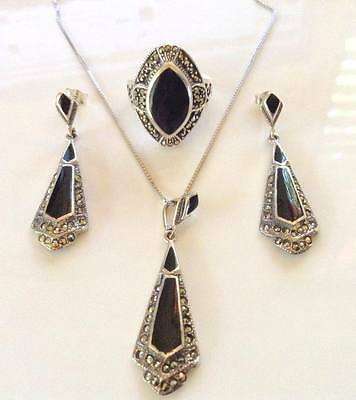 Onyx and Marcasite 925 Solid Sterling Silver Ring, Earrings and Necklace