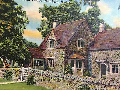 Rose Cottage Cotswold Group Greenfield Village Dearborn Michigan Early Postcard