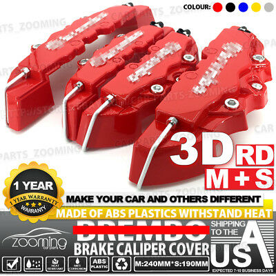 4 Pcs Red 3D Style Brake Caliper Covers Universal Car Disc Front Rear Kits LW03