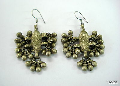 vintage antique ethnic collectible tribal old silver earrings fish design