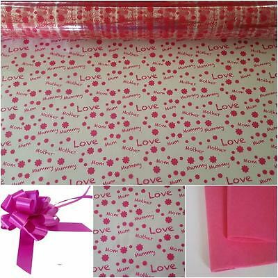 MUM PRINT CELLOPHANE / GIFT SET IN CERISE 80 CM X 2M -Ideal mothers day