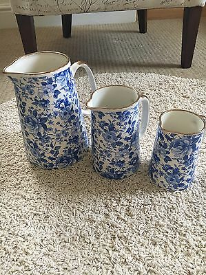 Blue And White Jugs Gold Handles X3