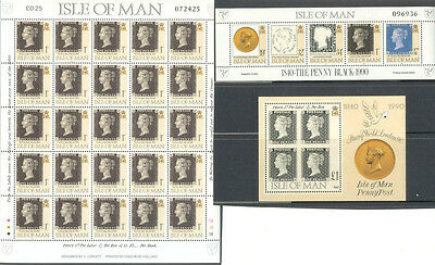 Isle of Man Penny Black collection 3 min sheets mnh