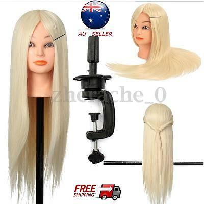 24'' 30% Real Human Hairdressing Hair Practice Head Training Mannequin + Clamp