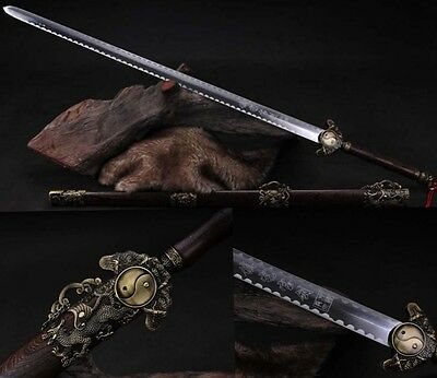 """40.55""""Hand Forge Chinese Sword """"Tai Chi Jian""""(劍) Carbon Steel Alloy Fitting"""