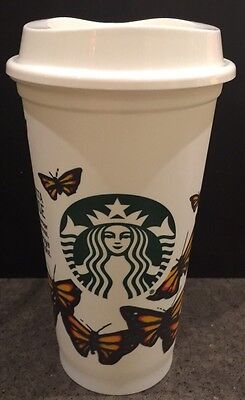 Starbucks Butterflies Reusable Cup Monarch Coffee Plastic NEW 16oz DISCONTINUED!