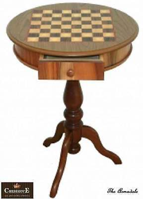 Hand Inlaid Wooden Table with Drawer Size 520mm Dia x 700mm High with 40mm Sq