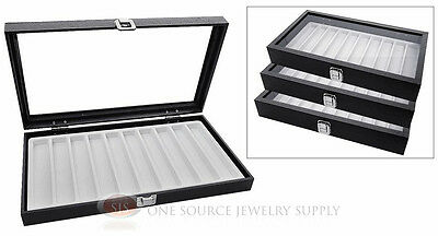 (3) Glass Top Wooden Cases w/ White 10 Slot Organizer Inserts Jewelry Displays