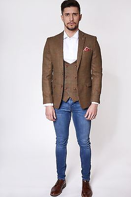 Mens Marc Darcy Designer Tan Brown Check Print Tweed Style Country Blazer Jacket