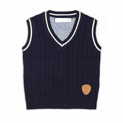 NEW Baby Boys Formal Knitted Vest 100% Cotton IN NAVY V Neck Size 6/9M to 6