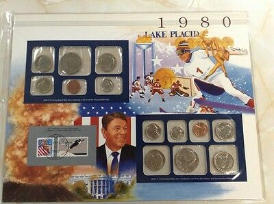 1980 P & D Postal Commemorative Society Mint set coins stamp panel And Free Ship