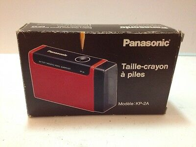 NOS Vintage Panasonic KP-2A Battery Operated Wood Lead Red Pencil Sharpener
