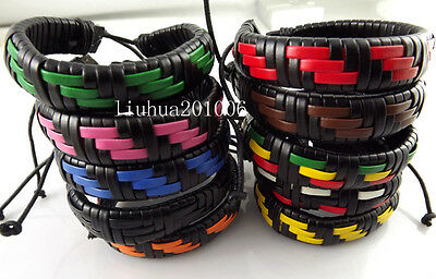 Wholesale 30 pcs Soft LEATHER Hand-woven BRACELET Mix Color