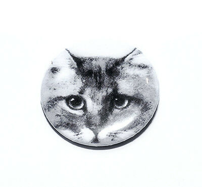 Badge grey tabby cat pencil drawing handmade pin button stocking filler gift