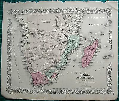 1855 Large Antique Map-Colton- Africa South, Mozambique,cape Colony,madagascar