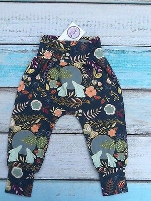 NEW Designer/Organic fabric Harem Pants Age 9-12 months Moonlight Stories