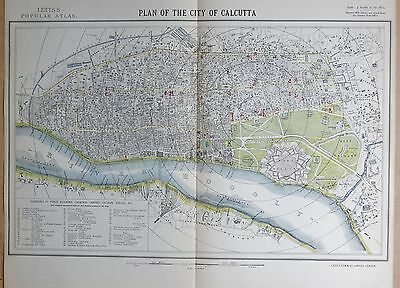 1883  Large Antique Town Plan Calcutta