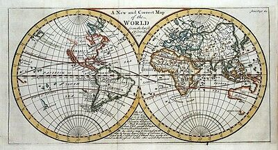 THE WORLD, Twin Hemispheres, California Island, Senex original antique map 1741