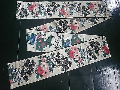 Beautiful Antique Victorian / Edwardian Floral Silk Wide Ribbon Length