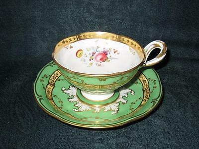 Exquisite Antique 19Th Century English Floral Tea Cup & Saucer Twisted Handle