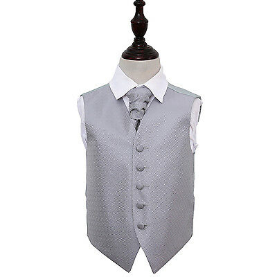 DQT Greek Key Patterned Silver Boys Wedding Waistcoat & Cravat FREE Pin
