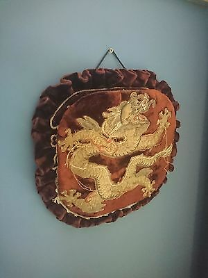 Unusual Antique / Vintage Embroidered Chinese Dragon Paper Rack ?