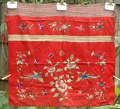 """Antique Chinese Hand Embroidered Fabric Textile Panel 33"""" x 30"""""""