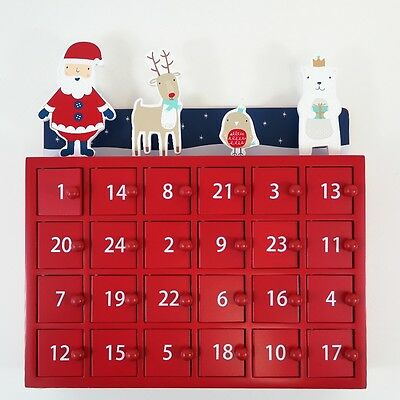 GLTC Wooden Christmas Party Advent Calendar: Red Lacquered Wood Box Doors