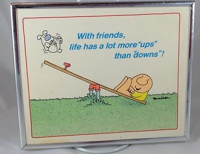 Vintage Ziggy Comic Desk / Wall Plaque (silver framed art): with friends, life