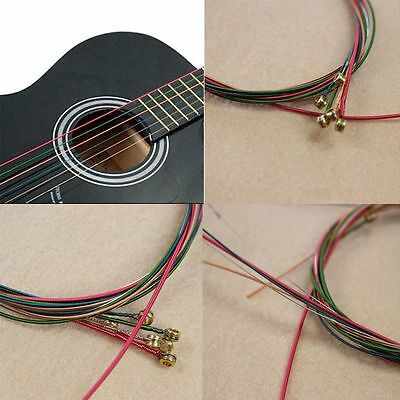 New One Set 6pcs Acoustic Guitar Strings Guitar Strings Rainbow Colorful Color