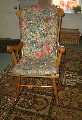 """Thick floral padded cotton chair cushion, 47"""" L x 20"""" W"""