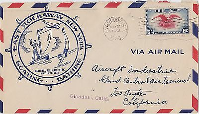 United States East Rockaway Lynbrook National Airmail Week May 1938 6c Cover