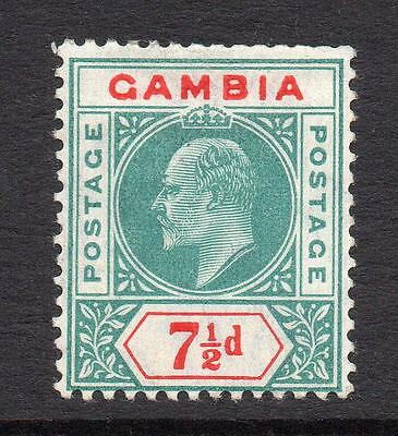 Gambia 7 1/2d Stamp c1904-06 Mounted Mint (short perfs)