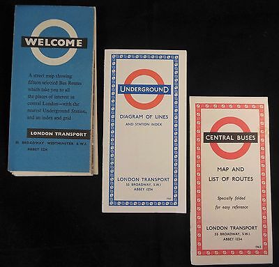 3 London Transport 1963 Folded Maps~London Tour Routes~Underground~Central Buses