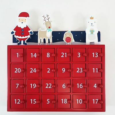 GLTC Wood Christmas Party Advent Calendar Red Lacquered Wooden Box Doors