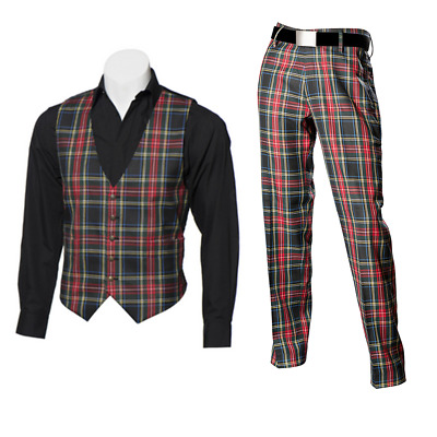 New Scottish Tartan Trews and Waistcoat Bundle - Black Stewart - Choose Size