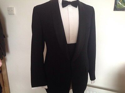 Bespoke Black Tuxedo Dinner Suit With Cumberband S44 W36 32L