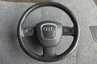 Audi A4 B7 S Line 3 Spoke Black Leather Steering Wheel With Airbag