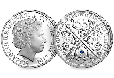 £5 The Sapphire Jubilee Five Pound Proof  Coin with blue sapphire (1952 - 2017)